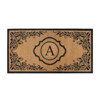 First Impression Hand Crafted Ella Entry X-Large Double Black/Beige 36 in. x 72 in. Coir Monogrammed A Door Mat
