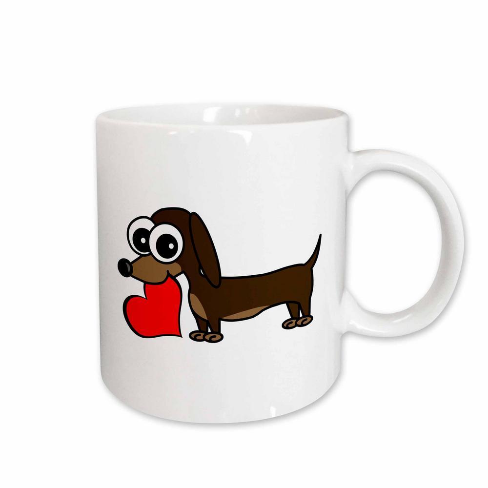Janna Salak Designs Dogs Dachshund Has My Heart 11 oz. White Ceramic Coffee Mug