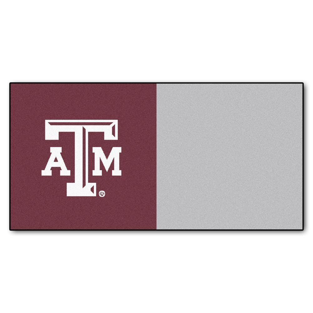 FANMATS NCAA - Texas A&M University Maroon and Gray Nylon 18 in. x 18 in. Carpet Tile (20 Tiles/Case)
