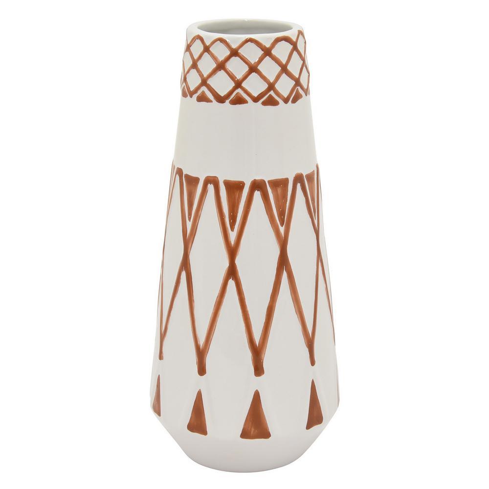 12 in. Ceramic Vase in Orange