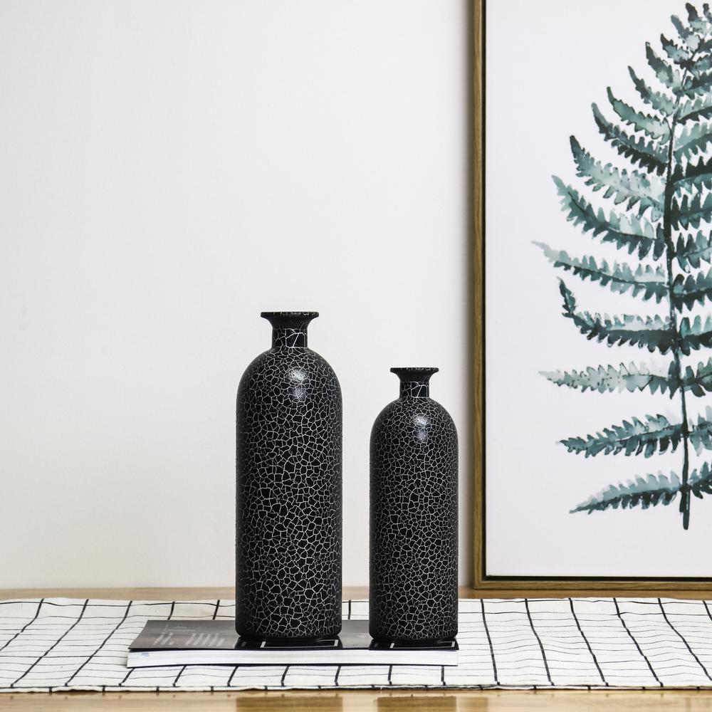 10.63 in. H Black Modern Painted Glass Vase (Set of 2)