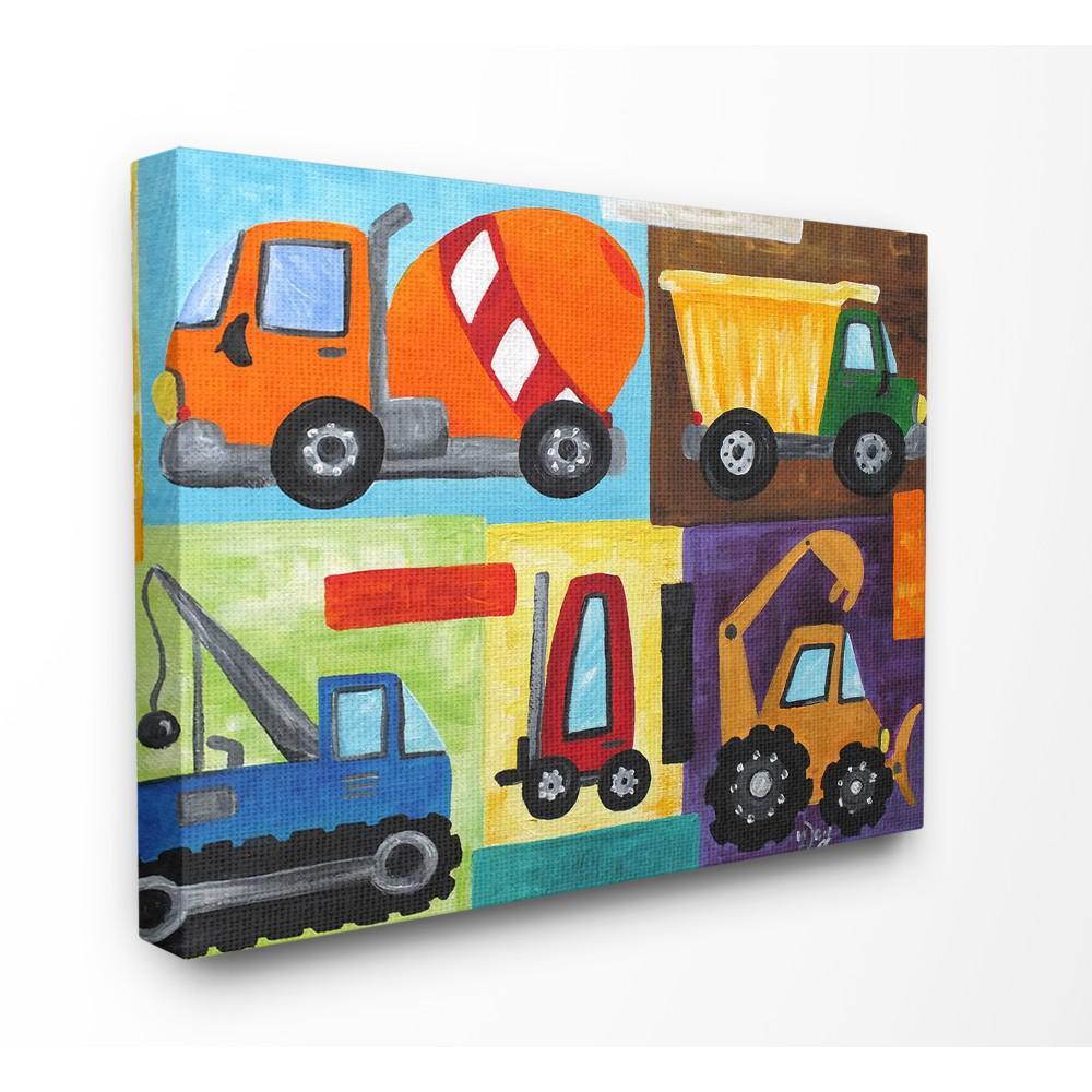 "24 in. x 30 in. ""Construction Trucks Set"" by nJoyArt Printed Canvas Wall Art"