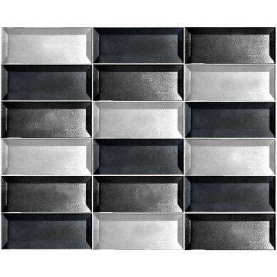 Secret Dimensions Cold Gray, Silver, Blue Mix 12 in. x 12 in. x 6 mm Glossy Glass Mosaic Tile