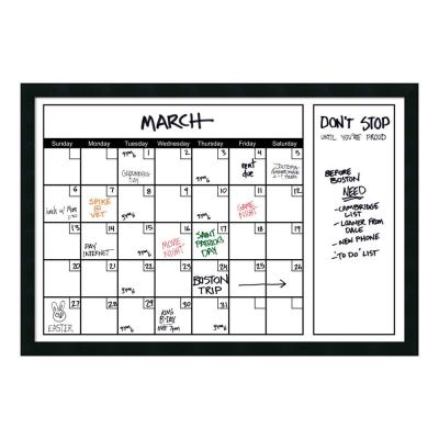 White Calendar 38 in. W x 26 in. H Framed Glass Dry Erase Board