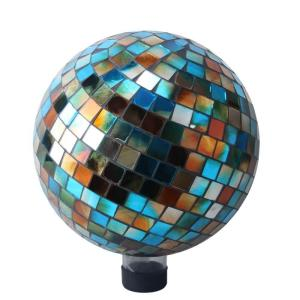 Alpine 10 inch Blue/Amber Mosaic Gazing Ball by Alpine