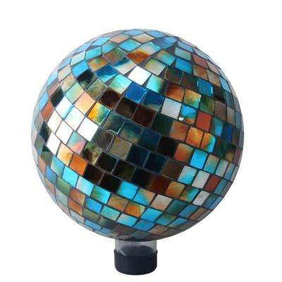 10 in. Blue/Amber Mosaic Gazing Ball