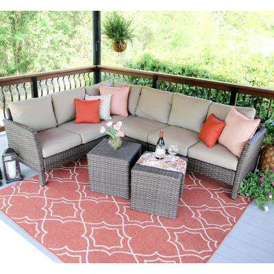Canton 6-Piece Wicker Outdoor Sectional with Sunbrella Cast Ash Cushions