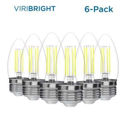 35-Watt Equivalent (2,700K) B10 Dimmable 90+ CRI Chandelier LED Light Bulb, Warm White (6-Pack)