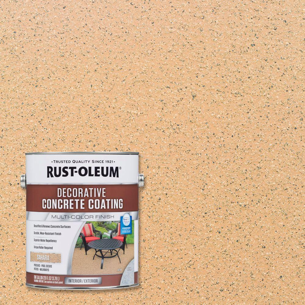 Rust Oleum 1 Gal Sahara Decorative Concrete Eexterior Solid Stain 301297 The Home Depot