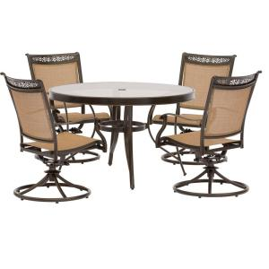 Hanover Fontana 5-Piece Aluminum Round Outdoor Dining Set with Swivels and Cast-Top Table by Hanover