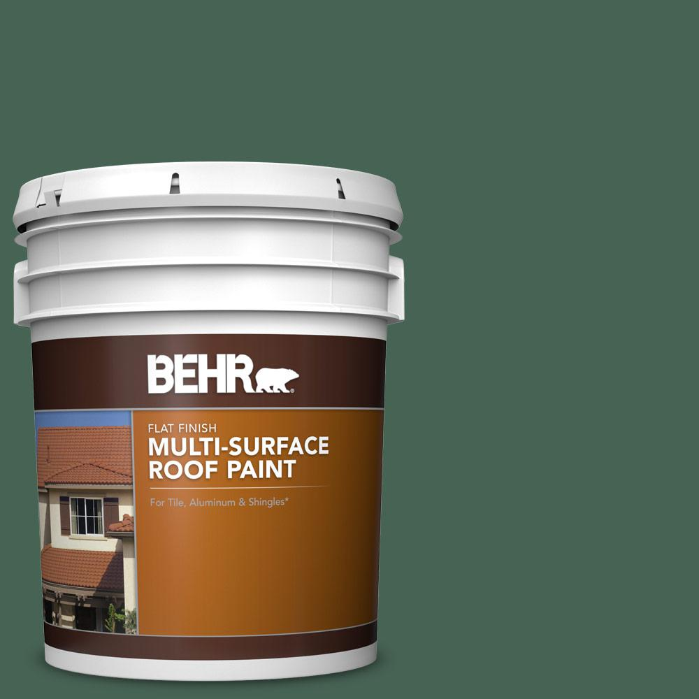Behr 5 Gal Pfc 40 Green Flat Multi Surface Exterior Roof Paint 06605 The Home Depot