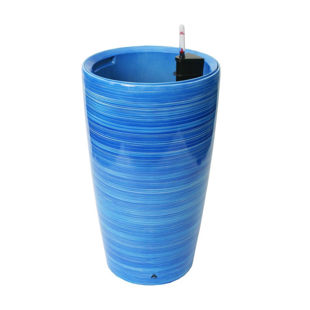 Modena 22 in. Blue Sky Round Self-Watering Plastic Planter
