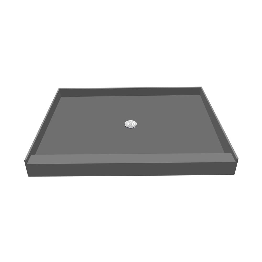 36 in. x 60 in. Single Threshold Shower Base in Grey