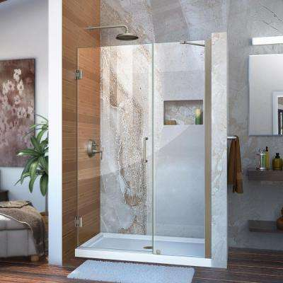 Unidoor 46 to 47 in. x 72 in. Frameless Hinged Pivot Shower Door in Brushed Nickel with Handle