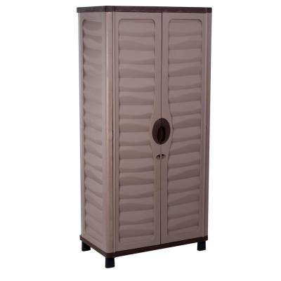 2 ft. 5 in. x 1 ft. 5 in. x 5 ft. 2 in. Plastic Mocha/Brown Storage Cabinet with 2 Shelves