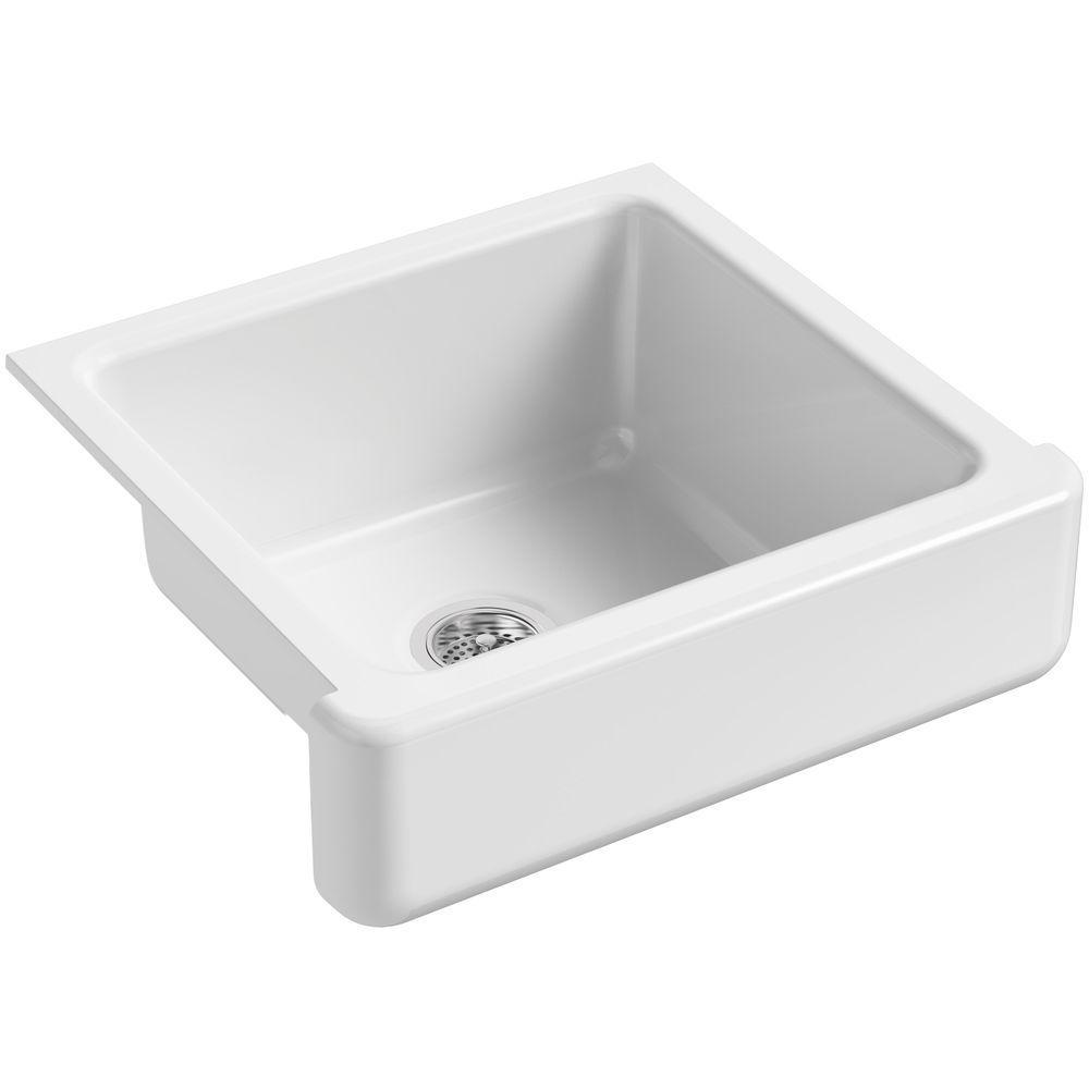 Kohler Whitehaven Farmhouse Apron Front Undermount Cast Iron 24 In Single Bowl Kitchen Sink In White K 5665 0 The Home Depot