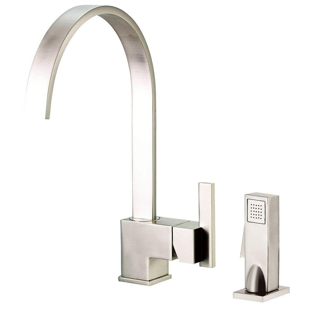 Danze Sirius Single-Handle Standard Kitchen Faucet with Veggie Spray in Stainless Steel