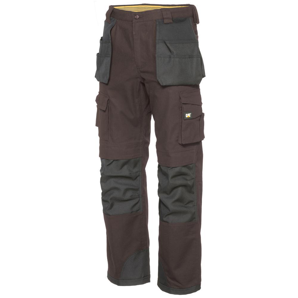 Men's 32 in. W x 30 in. L Dark Earth/Black Cotton/Polyester Canvas Heavy Duty Cargo Work Pant