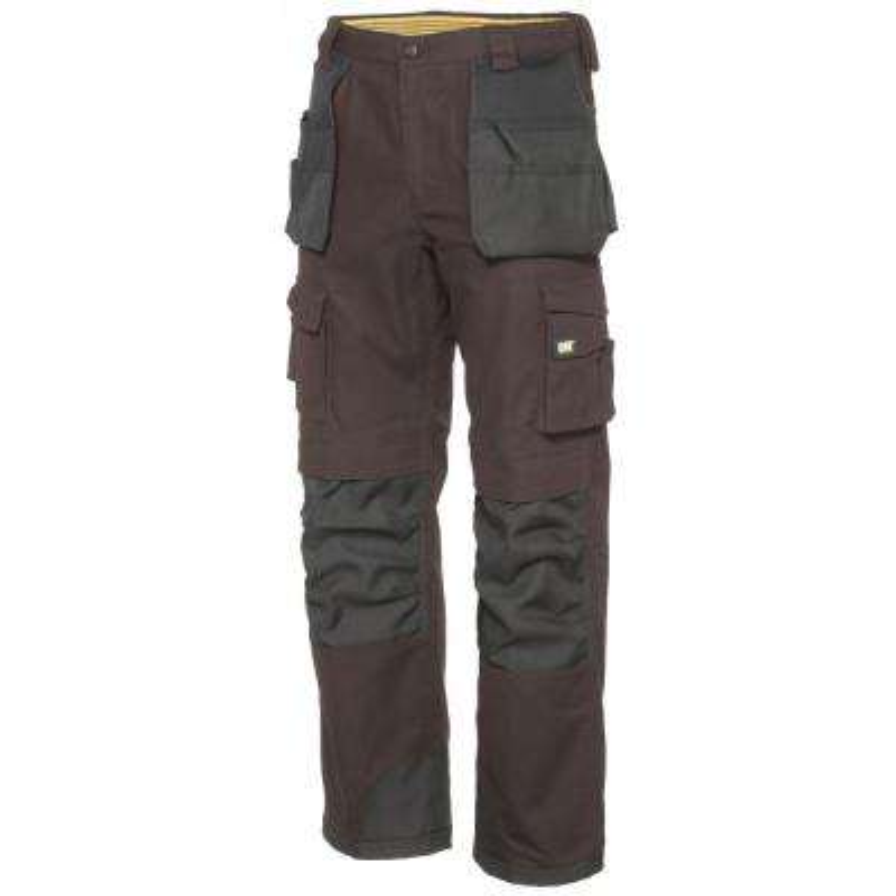 Men's 34 in. W x 32 in. L Dark Earth/Black Cotton/Polyester Canvas Heavy Duty Cargo Work Pant