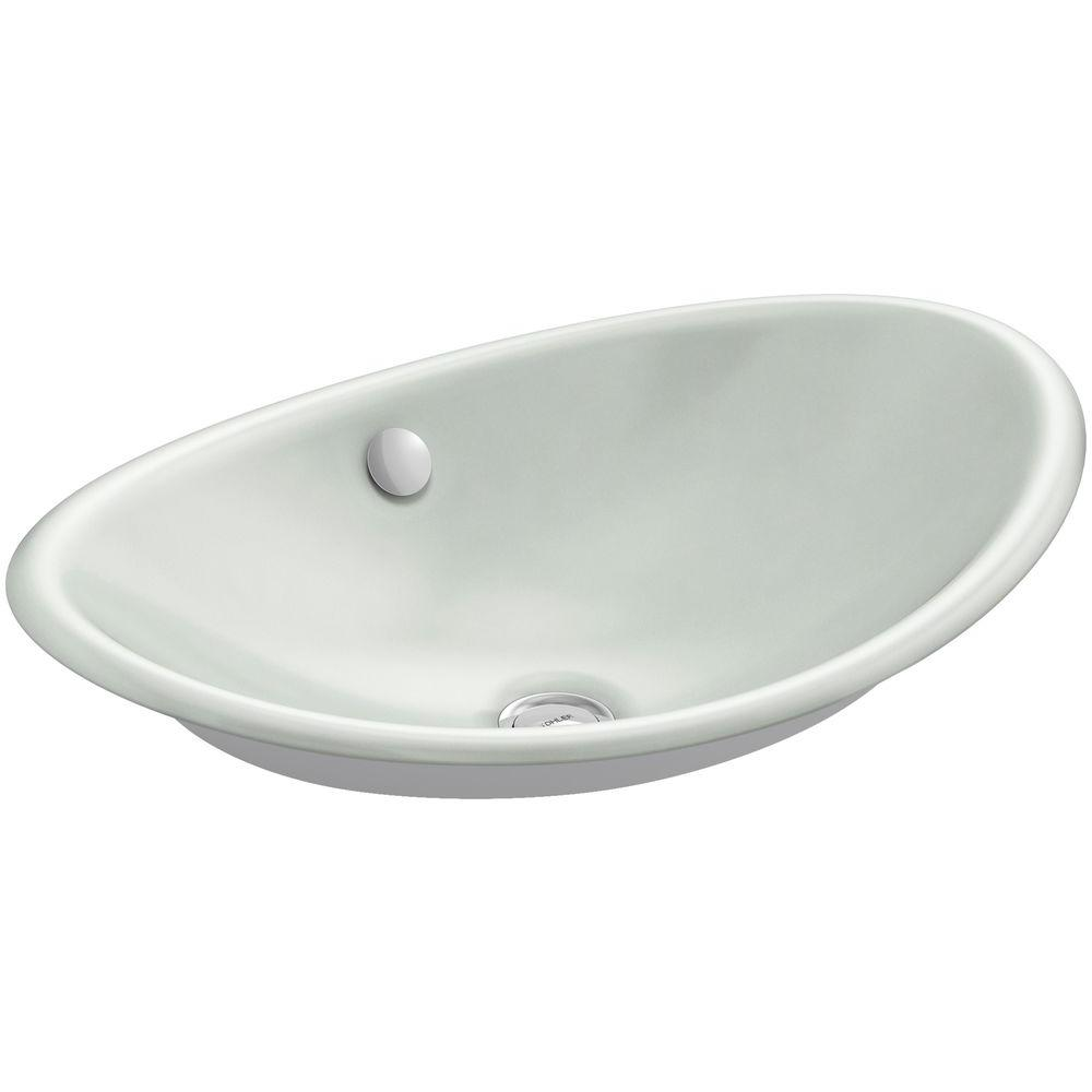KOHLER Iron Plains Cast Iron Vessel Sink In Sea Salt With White Painted  Underside With Overflow Drain K 5403 W FF   The Home Depot