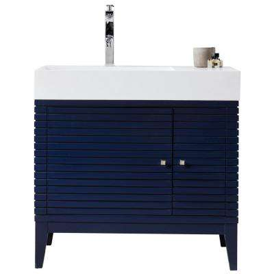 Linear 36 In. W Bathroom Vanity in Victory Blue with Solid Surface Single Vanity Top in Matte White with White Basin