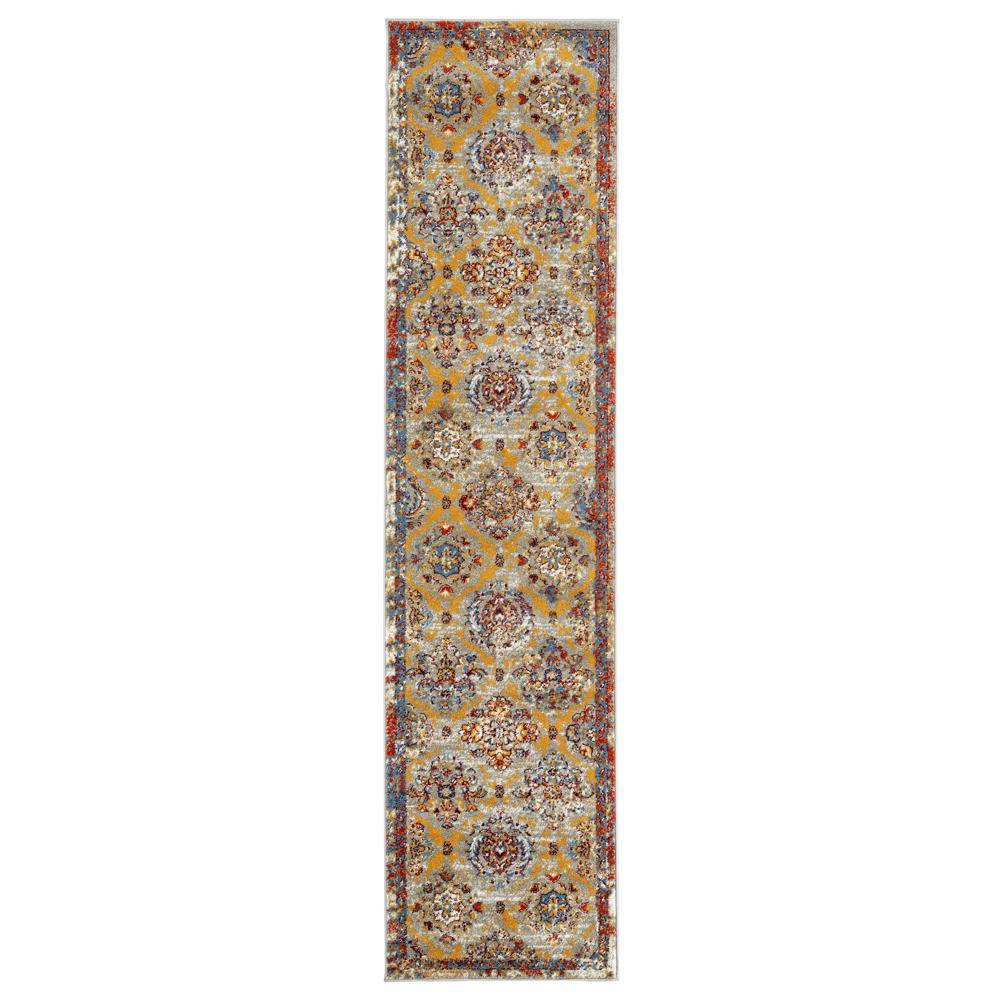 Scentasia Yellow-Beige Bordered 2 ft. 6 in. x 10 ft. 3 in. Runner Rug