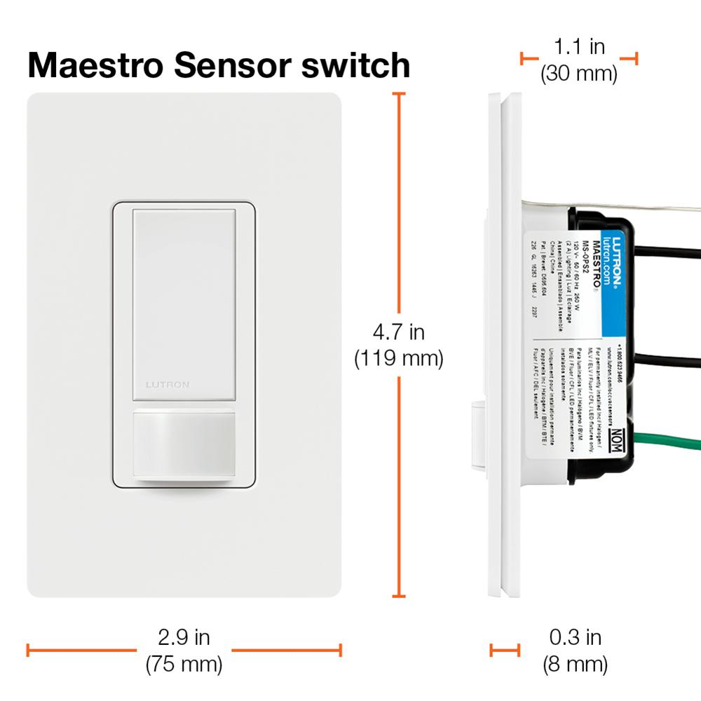 lutron maestro 2 amp single-pole motion sensor switch, white-ms-ops2h-wh -  the home depot  the home depot