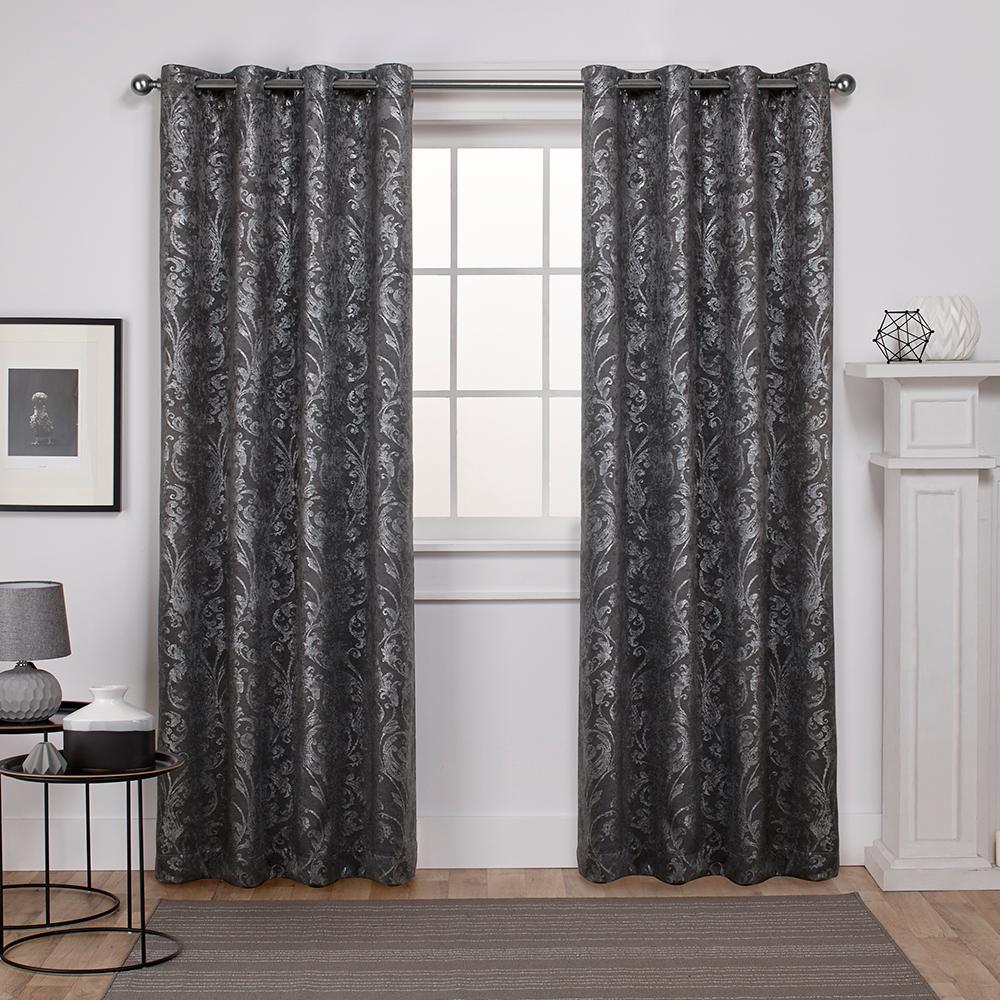 Watford Black Pearl Silver Distressed Metallic Print Thermal Grommet Top Window Curtain