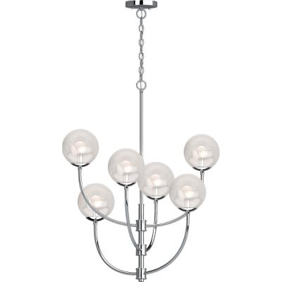 Lawrence 6-Light Chrome Indoor Hanging Chandelier with Clear Glass Round Sphere Globe Orb Shades