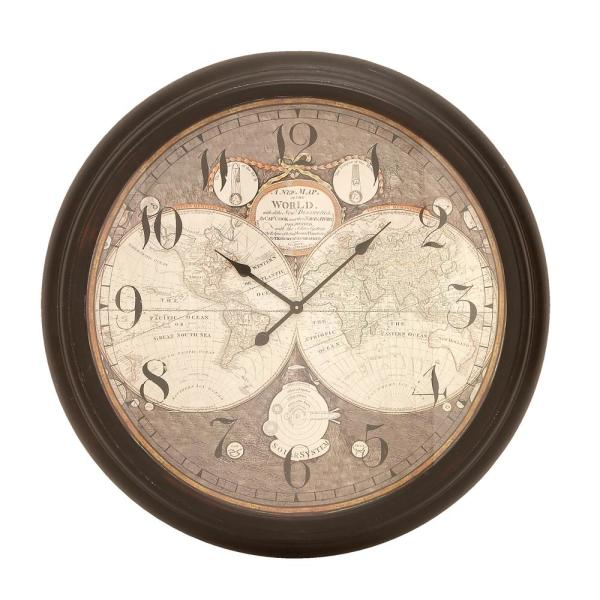 Traditional 37 inch antique hemisphere map face iron framed wall clock