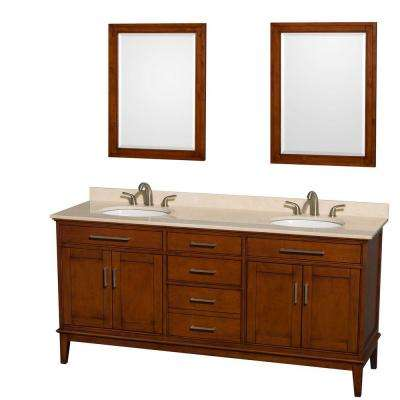 Hatton 72 in. Double Vanity in Light Chestnut with Marble Vanity Top in Ivory, Sink with and 24 in. Mirrors