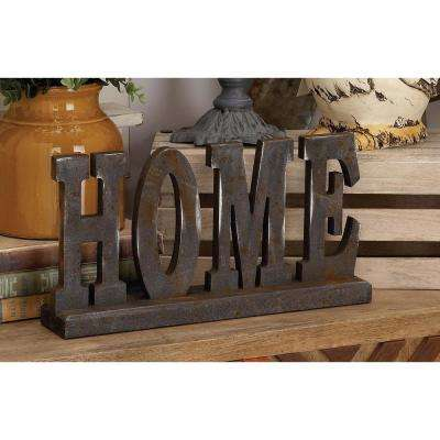 """16 in. x 8 in. Home and Hearth """"HOME"""" Wooden Tabletop Decor"""