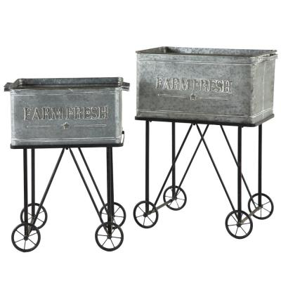 25 in. x 31 in., 21.5 in. x 27 in. Large Rectangular Galvanized Steel Cart Planters (Set of 2)