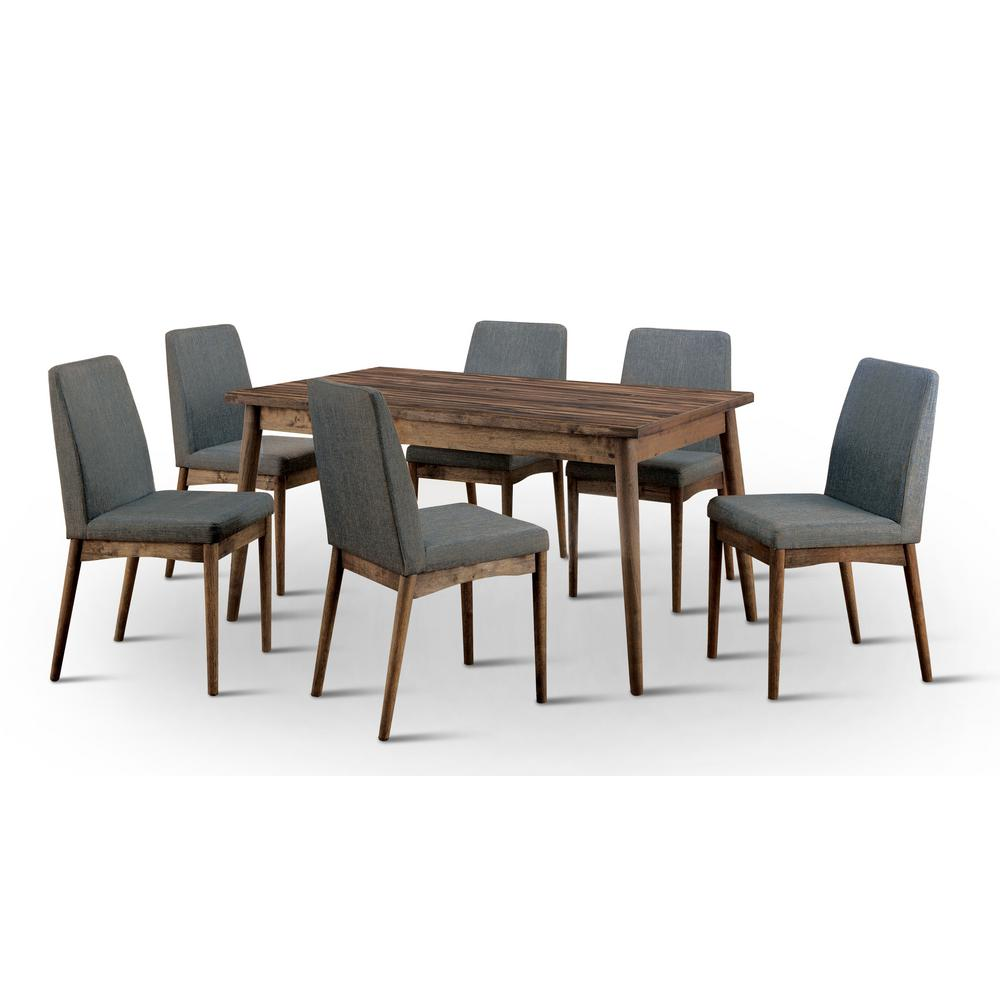 furniture of america nerlim 7 piece natural tone dining