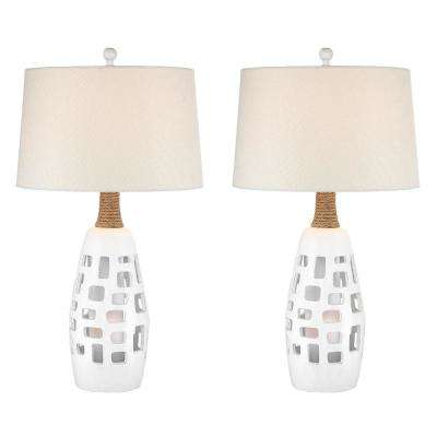 32 in. Antique White Indoor Table Lamp Set