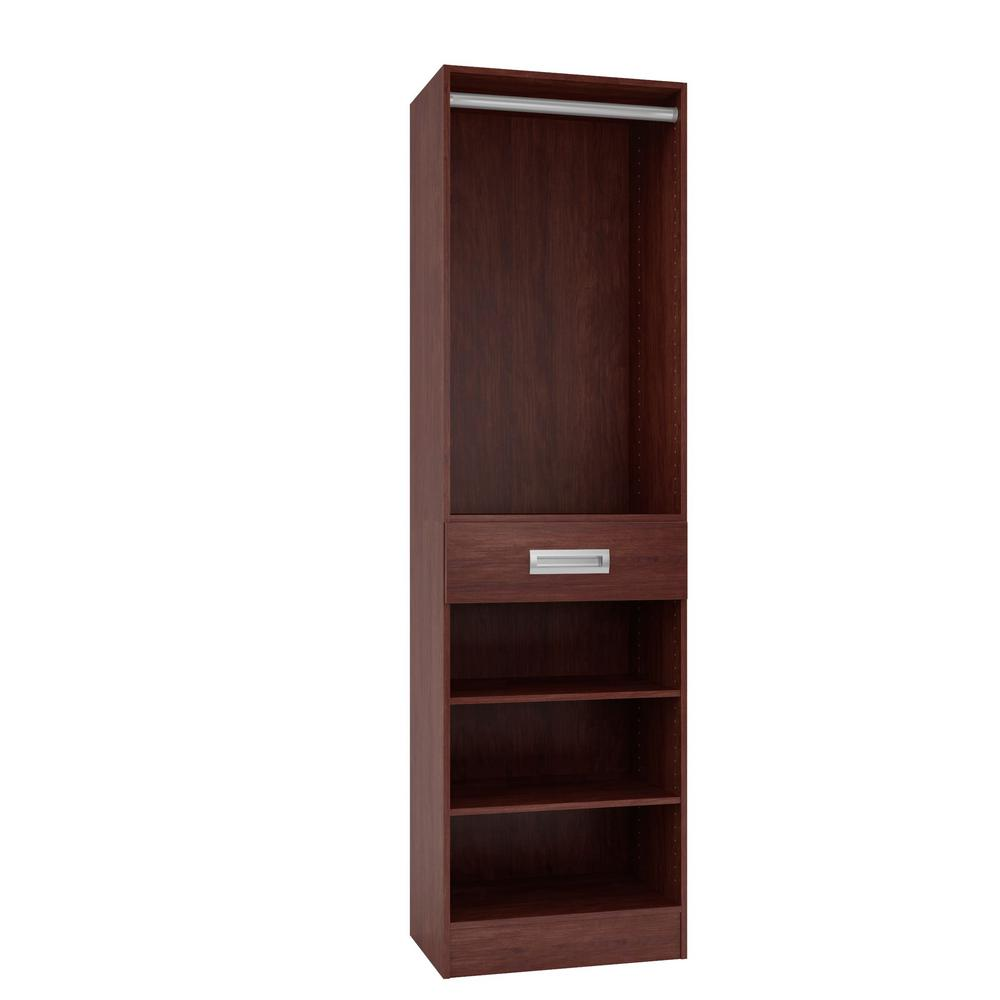 Home Decorators Collection 15 in. D x 24 in. W x 84 in. H Firenze Cherry Melamine with 3-Shelves, Drawer and Hanging Rod Closet System Kit
