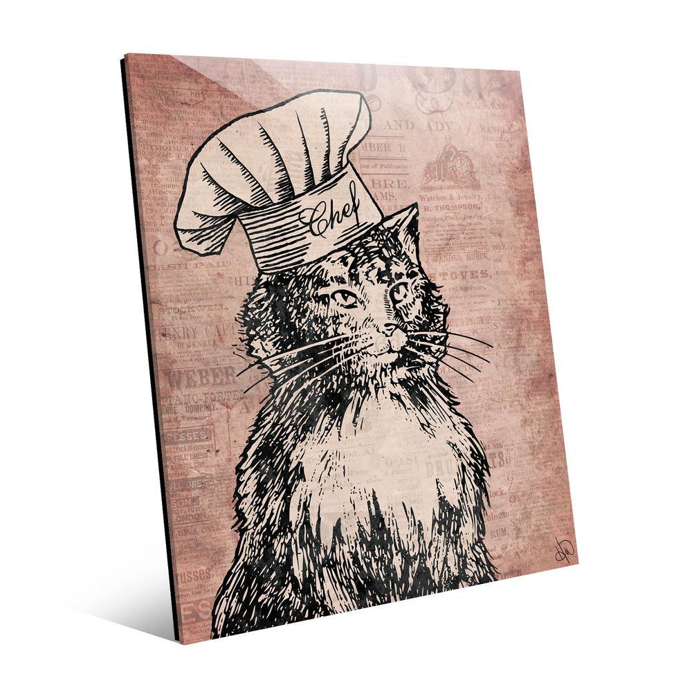 Chef Cat Unframed Acrylic Wall Art Print 14 in. x 11 in.
