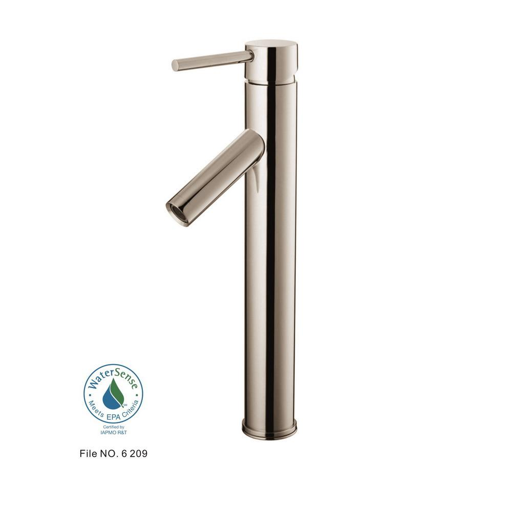 Glacier Bay Single Hole Handle Vessel Bathroom Faucet In Brushed Nickel