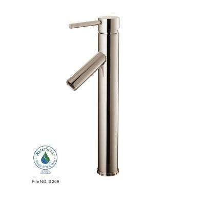 Single Hole 1-Handle Vessel Bathroom Faucet in Brushed Nickel