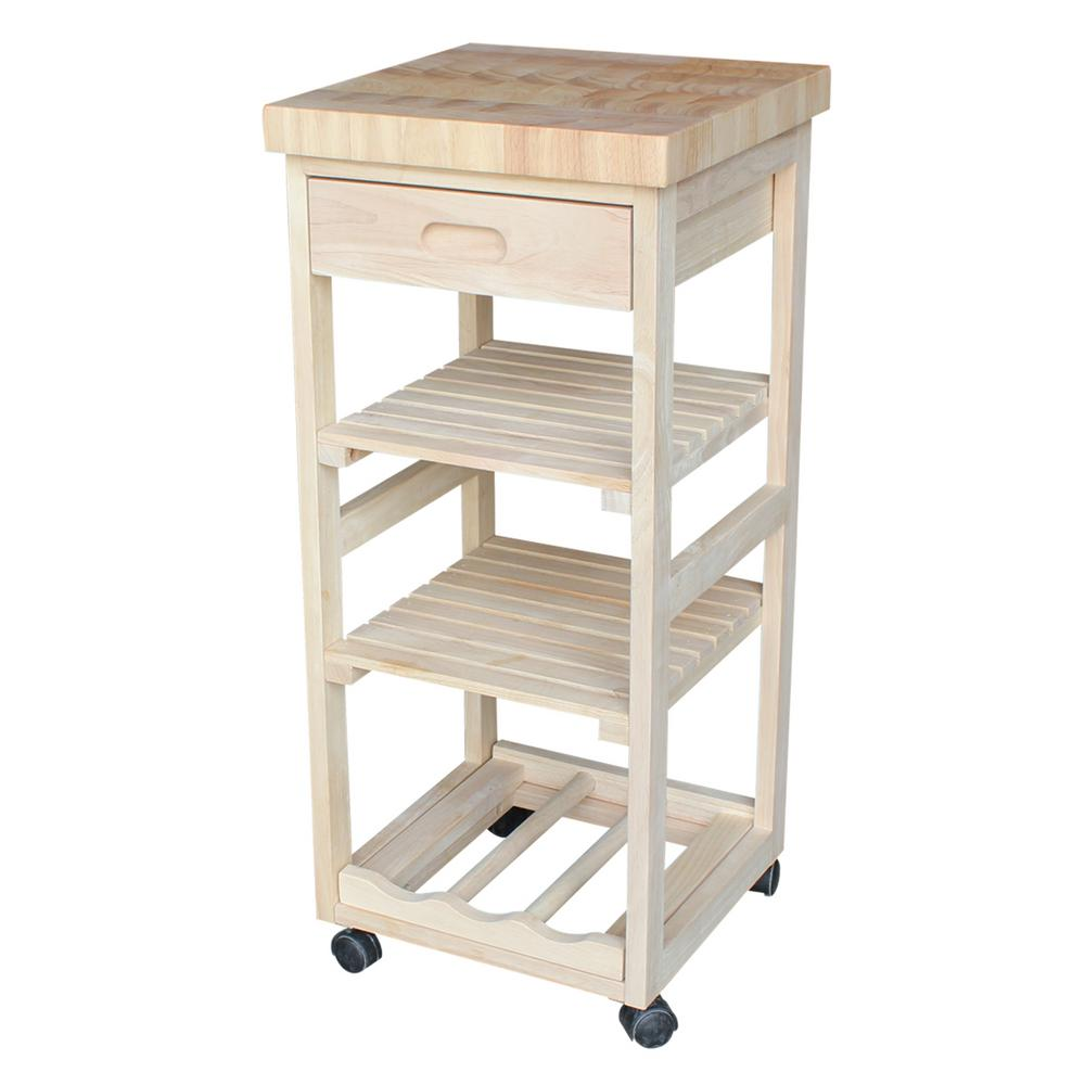 kitchen cart with drawers International Concepts Unfinished Kitchen Cart With Drawer WC 1515  kitchen cart with drawers