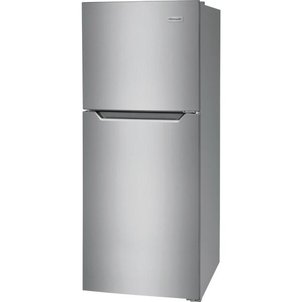 Frigidaire 10 1 Cu Ft Top Freezer Refrigerator In Brushed Steel Energy Star Ffet1022uv The Home Depot