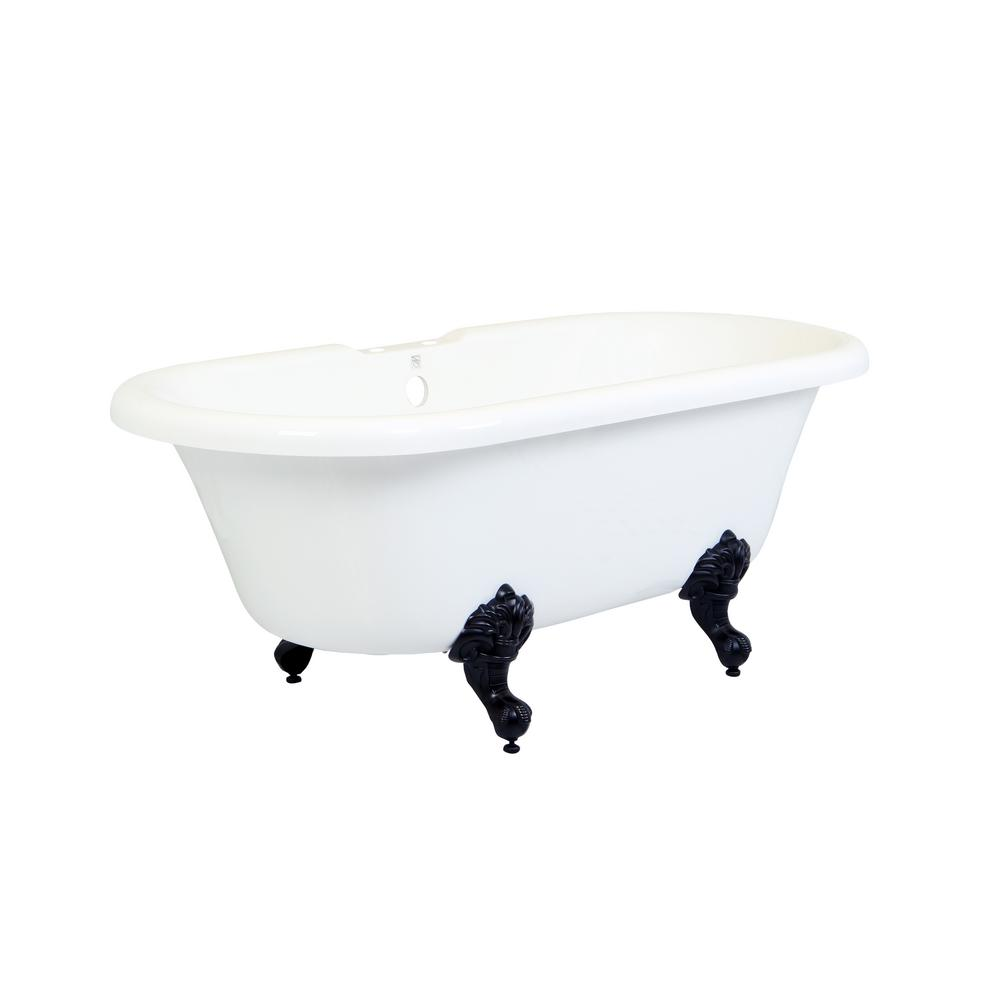 Double Ended 5.6 ft. Acrylic Oil Rubbed Bronze Clawfoot Non-Whirlpool Bathtub