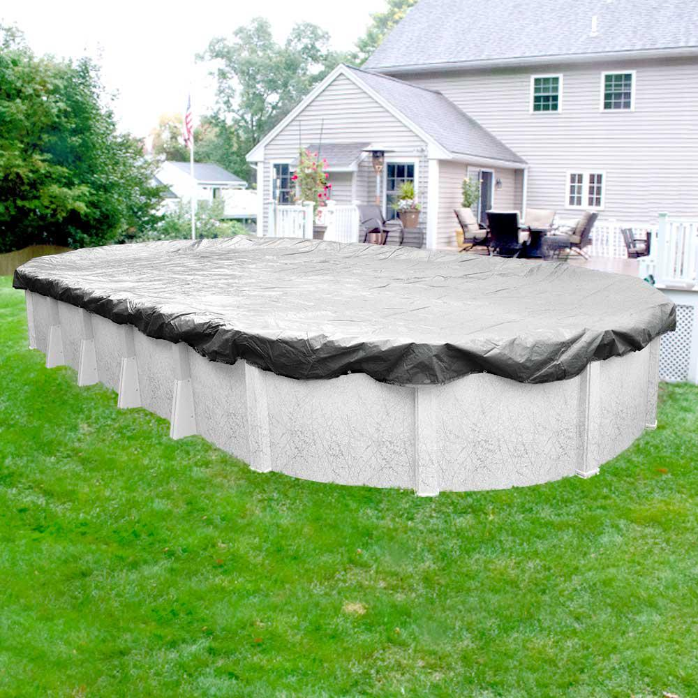 Pool Mate Silverado 12 ft. x 18 ft. Oval Silver Solid Above Ground Winter Pool Cover