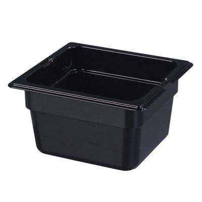 1/6 Size, 1.70 qt., 4.0 in. D High Heat Plastic Food Pan in Black, Lid not Included (Case of 6)