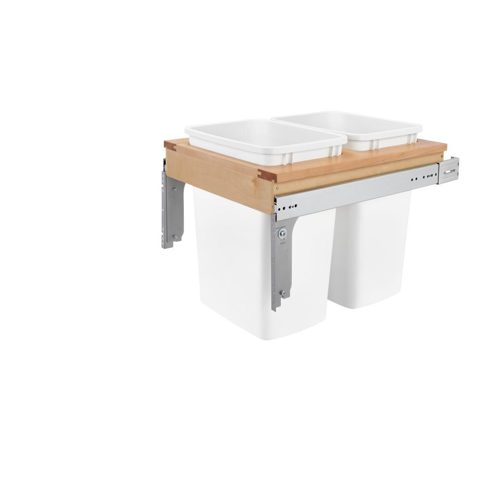 Rev-A-Shelf 17.875 in. H x 18 in. W x 22.75 in. D Double 35 Qt. Pull-Out Top Mount Wood and White Container for 1-1/2 in. Face Frame