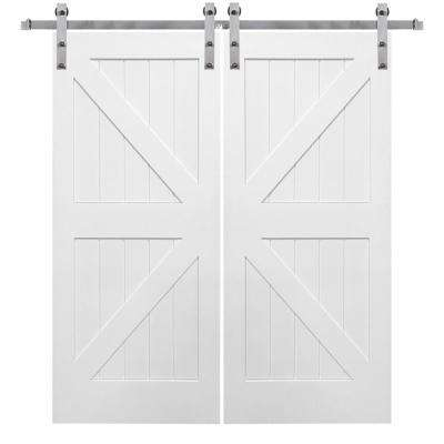 84 in. x 84 in. Primed K-Plank MDF Barn Door with Sliding Door Hardware Kit