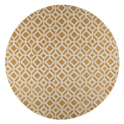 Taza Yellow 8 ft. x 8 ft. Round Area Rug