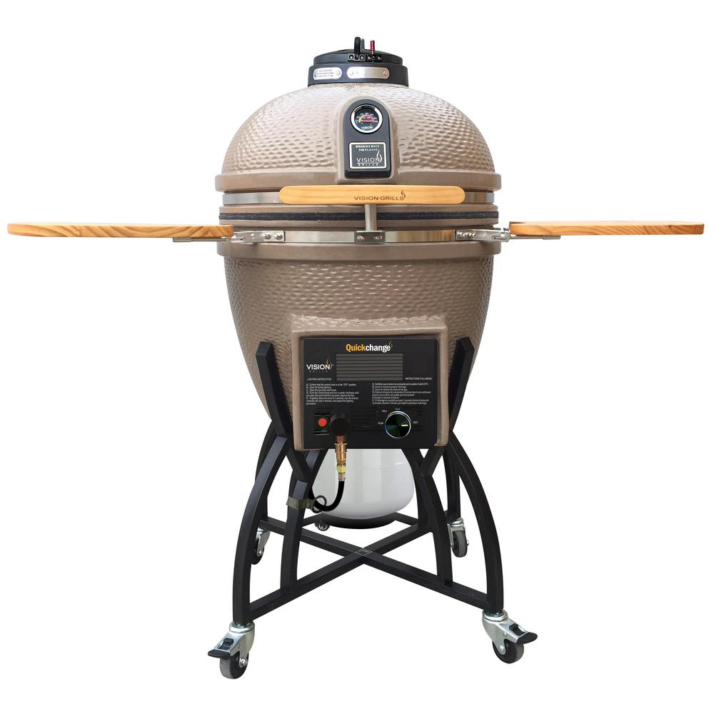 Vision Grills Kamado Char-Gas Dual Fuel Charcoal/Gas Grill in Taupe with Grill Cover