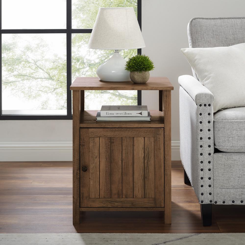 Reclaimed Barnwood Modern End Table With Open Shelf and 1-Door