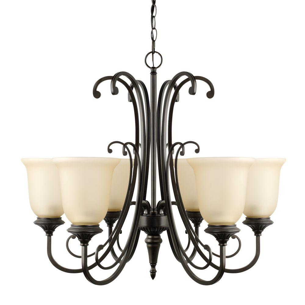 Beverly 6-Light Oil Rubbed Bronze Chandelier with Amber Glass Shade